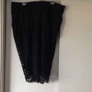 Torrid black lace pencil skirt with shorts